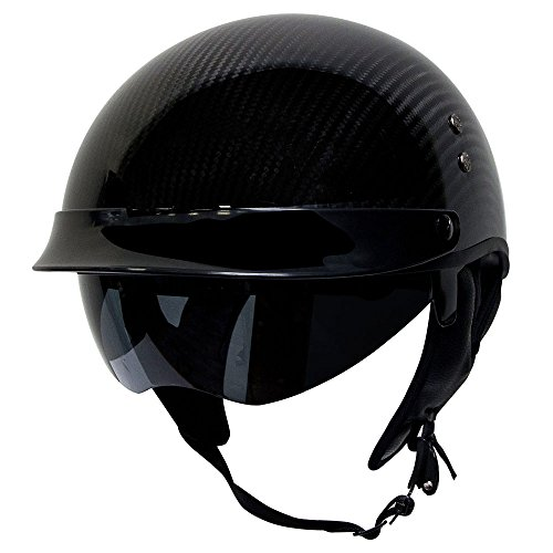 Voss 888CF Genuine Carbon Fiber DOT Half Helmet with Drop Down Sun Lens and Metal Quick Release - XS - Gloss Carbon