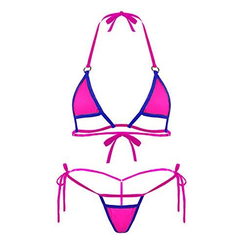 Deer Mum Women Sexy Halter Neck Swimsuit Hollow Micro Mini Bikini Set 2 Pieces (3) Purple