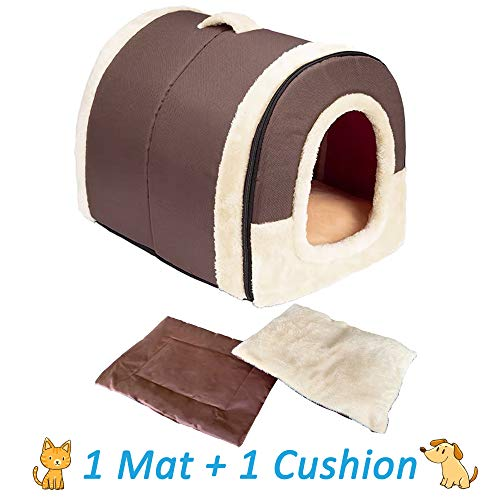 ANPI 2 in 1 Dog House Cat Igloo, Foldable Machine Washable Cat Bed Cave Non-Slip Soft Warm Pet Rabbit House Sofa with Detachable Cushion, 3 Sizes, Multicolour (Large, Brown)