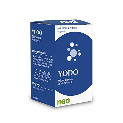 NEO   Yodo Oligoelemento en Microgránulos - 50 Cápsulas   Complemento Alimenticio para una Piel Sana   Interviene en el Aumento del Metabolismo Basal  Sin Gluten   Tomar 1 o 2 Cápsulas al Día
