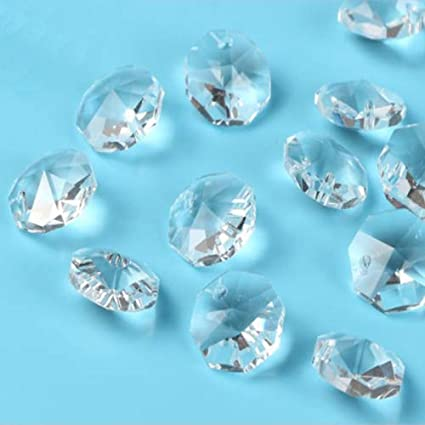 100x 14MM AB color AAA 2 HOLE OCTAGON CRYSTAL GLASS BEADS CHANDELIER DIY