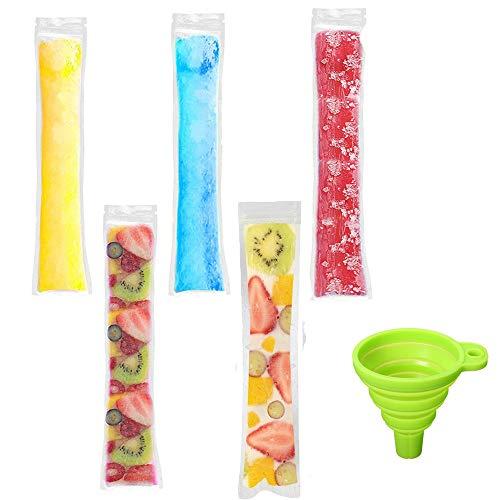 Tubos de hielo seguros: Hechos de material de calidad alimentaria, sin bisfenol A, no tóxico, sin ftalatos, son seguros para ti y tus hijos. Dimensiones ideales: Estas bolsas para helados miden 5 x 28 cm y en cada paquete vienen 100+ embudo. Sin der...