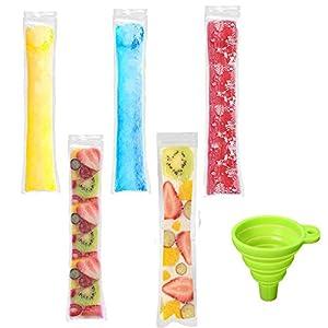 Paquete de 100 bolsas para moldes de helado, desechables, con cremallera, para congelador, para hacer hielo, helados y chucherías congeladas, sin BPA, con embudo