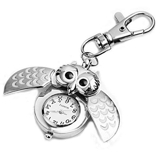 Spaufu – Taschenuhr in Eulenform als Schlüsselanhänger für Auto, Rucksack, Handtasche, Taschen, als Hängeornament für Herren, Damen, Mädchen als Geschenk oder Zubehör silber