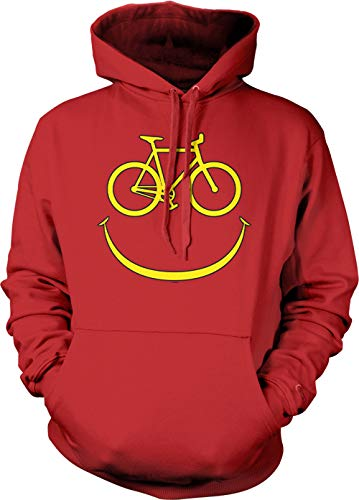 Bike Smile Face - Emoticon Bicycle Rider Unisex Hoodie Sweatshirt (Red, Small)