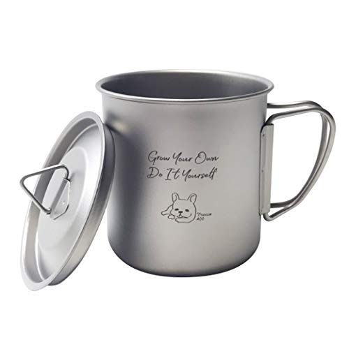 Meichan's Life チタンマグ 300/400 キャンプ アウトドア マグカップ おしゃれ かわいい 人気 コンパクト 軽量 収納ポーチ付き 蓋付き (400ML 蓋付き)