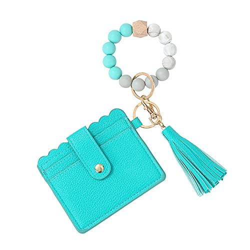 ZJHGQ Pulsera de pulsera llavero cartera borla titular de la tarjeta llavero cuero pu llavero círculo brazalete regalo para las mujeres, estilo 5