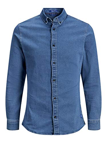 JACK & JONES Herren JJIGEORGE Shirt Stretch LS Jeanshemd, Blau (Light Blue Denim Fit: Super Slim), Medium
