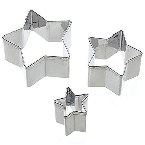 KitchenCraft Star Fondant Cutters for Cake Decorating, Stainless Steel, 3...
