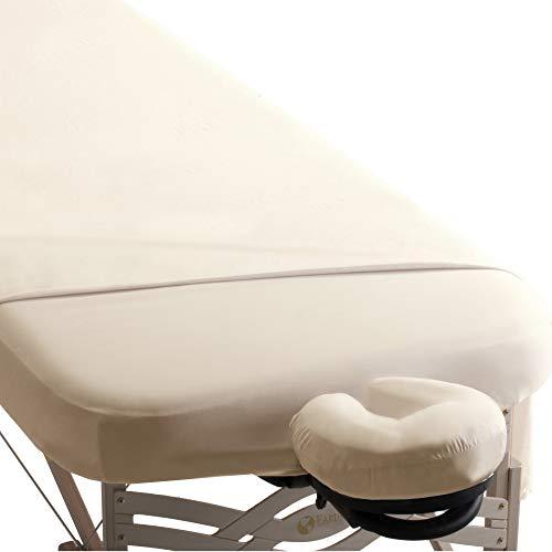 EARTHLITE Premium Mikrofaserbezug-Set für Massageliegen - Seidig, Knitterfrei, Schnelltrocknend, 3er Set (Spannlaken, Laken, Kopfstützenbezug)
