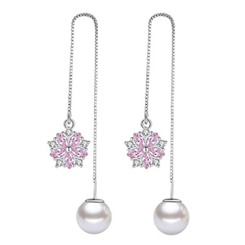 Wiftly Women's Pearl Earrings 925 Sterling Silver Pull Through Threader Long with Pink Zircon Chain Earrings Earring Allergen-Free Wedding Engagement Party Earrings Fits Wedding Dress Evening Dress