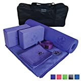 Yoga Set Kit 7-Piece 1 Yoga Mat, Yoga Mat Towel, 2 Yoga Blocks, Yoga Strap, Yoga Hand Towel, Free Carry Case Yoga for Seniors, Exercises Yogis and Mom