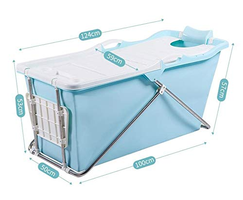 FlinQ Bañera Móvil Plegable para Adultos | Azul | Sistema de Clic sencillo | Ideal para Baños Pequeños | Bañera Plegable XL | Bañera Móvil para Adultos y Niños