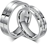 Bishilin Acero Inoxidable 6Mm Wedding Anillos de Compromiso Parejas Juego Mujeres Talla 9,5 & Hombres Talla 22