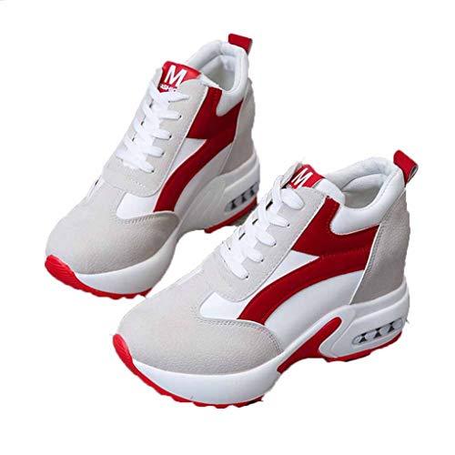 Zapatillas De Cuña con Plataforma para Mujer Zapatos De Tacón Alto con Cordones Internos Aumentados Running Casual Senderismo Calzado Deportivo Rojo Negro Zapatillas Transpirables