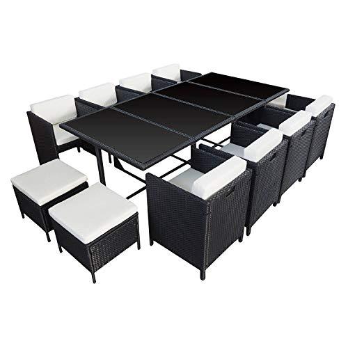 BENEFFITO HABELOCK - Muebles de Jardín de Resina Trenzada Empostrable - 12 Asientos - Negro Beige
