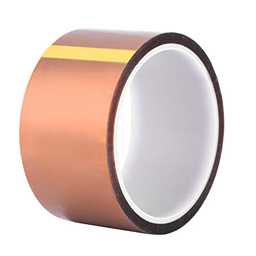 Bewinner Tape for 3D Printer, High Temp Tape 33m*0.06mm 250-300℃ Heat Resistant Tape - High Insulation Heat Resistant Adhesive Tape Suitable for BGA Chip Welding(50mm)