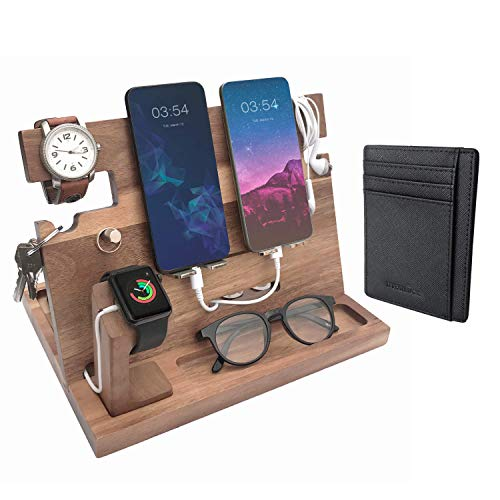 Eterluck Wooden Docking Station Men, Nightstand Organizer Bundle w/RFID Blocking Leather Wallet - Charging Station, Cell Phone Stand, Tablet Stand, Husband Gifts from Wife, for Dad -Natural