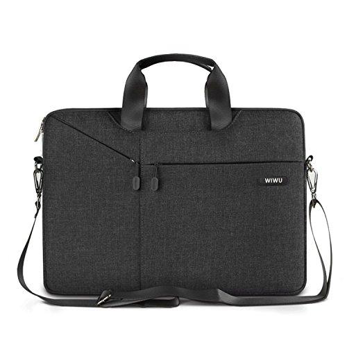 WIWU Tablet Tasche, 15-15.6 Zoll Schultertasche, Wasserdichte Nylon Laptop Tasche Aktentasche (Schwarz, 15 Zoll)