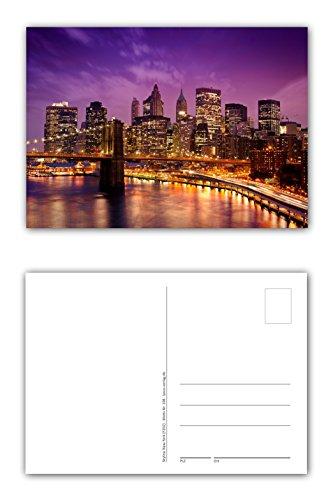 12 Stück Postkarten New York City Skyline im Sonnenuntergang mit der Brooklyn Bridge über den East River im Vordergrund Format: DIN A6 / 105 x 148 mm (PKT-108)
