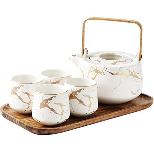 L-sister perfect Marble series tea set ceramic coffee cup tea set family breakfast milk cup and saucer with lid afternoon tea tableware Colorful (Color : White, Size : 5PCS)