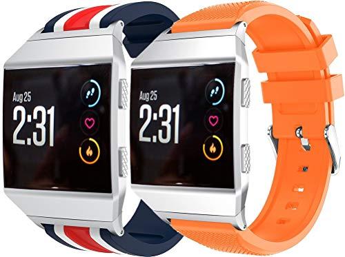 NeatCase Correa de Reloj Compatible con Fitbit Ionic, Silicona Correa Reloj con Acero Inoxidable Hebilla desplegable (2PCS A)