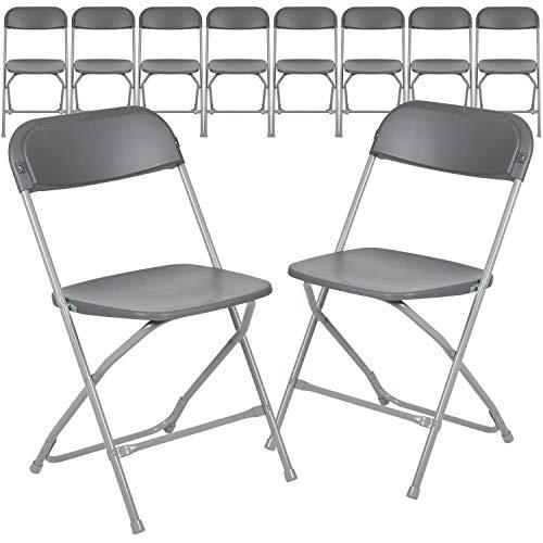 Flash Furniture Hercules Series Plastic Folding Chair - Grey - 10 Pack 650LB Weight Capacity Comfortable Event Chair-Lightweight Folding Chair