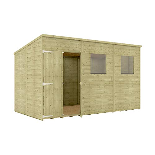 Project Timber 12 x 6 Pressure Treated Hobbyist Pent Shed Tongue & Groove Shiplap Cladding Construction Offset Door OSB Floor Wooden Garden Shed 3.65m x 1.82m