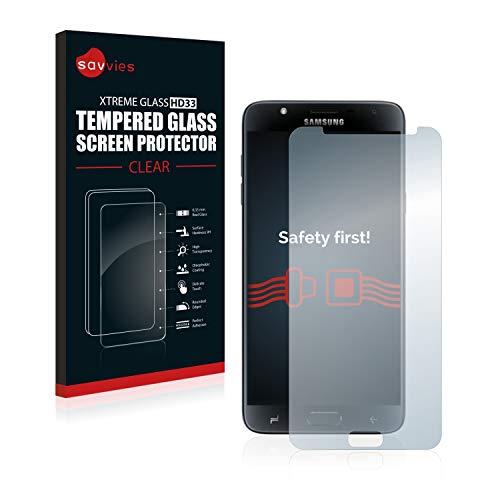 savvies Protector Cristal Templado Compatible con Samsung Galaxy J7 Duo 2018 Protector Pantalla Vidrio, Protección 9H, Pelicula Anti-Huellas