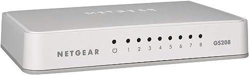 NETGEAR (GS208) Switch Ethernet 8 Ports RJ45 Gigabit (10/100/1000), switch RJ45 plastique, Idéal pour étendre la conn...
