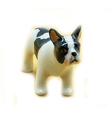 Grandroomchic Dollhouse Animal Miniature Handmade Porcelain Statue Ceramic Decorative 1/24 Scale Baby French Bulldog Dog Figurine Collectibles Gift