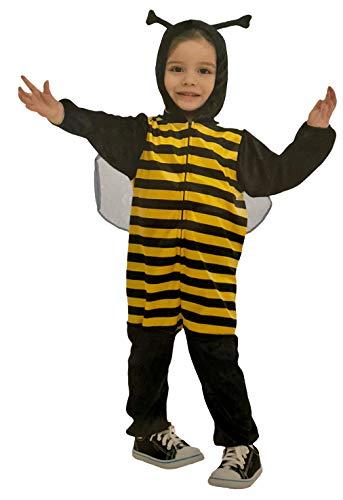 Brandsseller Kinder Bienen Kostüm Overall mit Kapuze Verkleidung Fasching Karneval - Schwarz-Gelb XS 3-4 Jahre