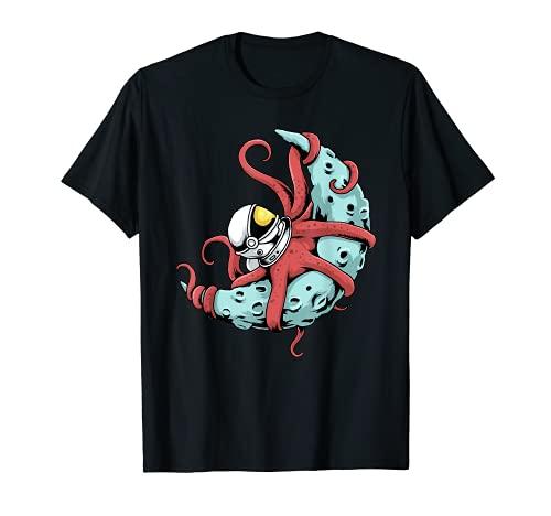 Astronauta Octopus Tshirt Kraken Squid Space Astronomia Luna Maglietta