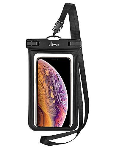 Olliwon wasserdichte Handyhülle Unterwasser wasserfest Beutel Tasche mit Schlüsselband bis 6,5 Zoll Touch-ID Funktion für iPhone XS Max XR X 8+ 7+ für Samsung S10+ S9+ Huawei Nexus Xiaomi - Schwarz