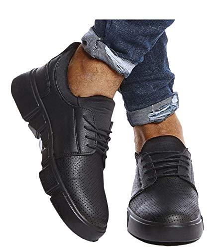 Leif Nelson Herren Schuhe für Freizeit Sport Freizeitschuhe Männer weiße Sneaker Sommer Coole Elegante Sommerschuhe Sportschuhe Weiße Schuhe für Jungen Winterschuhe Halbschuhe LN202 43 Schwarz