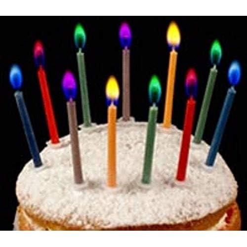 Angel Flames–Candeline per torta di compleanno colorate–12pezzi Normale Multicolore