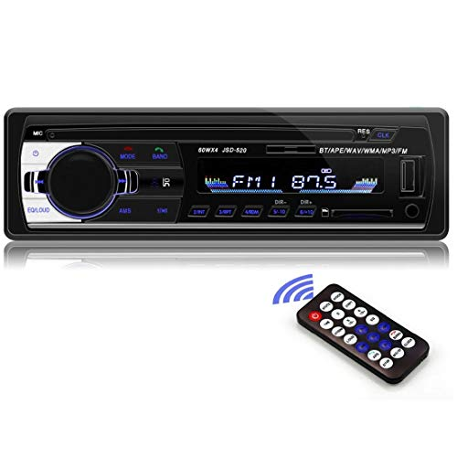 Bluetooth Autoradio 1 DIN 12V Radio estéreo para automóvil Receptor de Entrada Auxiliar FM SD USB In-Dash Radio para automóvil Reproductor de automóviles