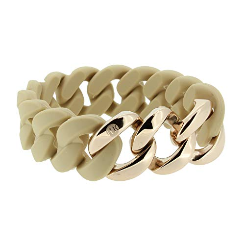 Hanse-Klunker Armband Damen ORIGINAL Silikon Sand, Edelstahl Rosegold Armreif Armkette Frauen Mädchen Größe 19-20 cm inkl. Schmuck-Geschenk-Box