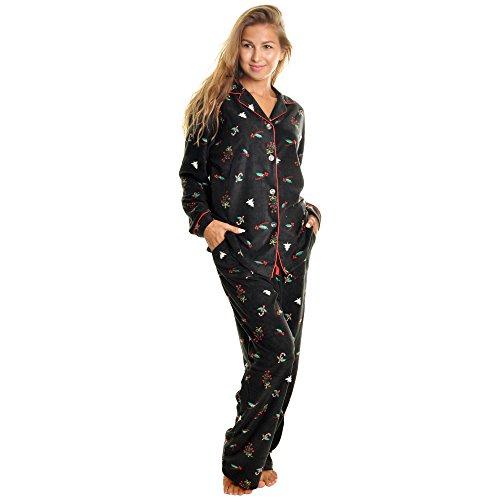 Angelina Women's Cozy Fleece | Christmas Prints Pajamas For Women | Holiday | Pajama Set with Pockets PJ56_XL