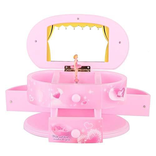 Belissy Music Box Ballerina - Caja de música con espejo para niña, diseño de bailarina, color rosa