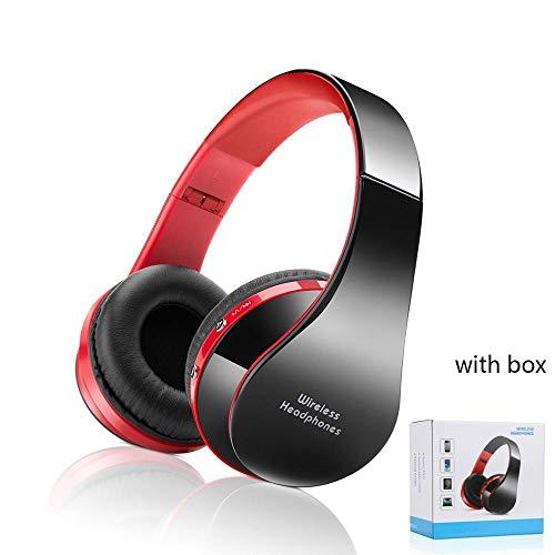 Audífonos inalámbricos con Bluetooth, estéreo, Plegables, para Deporte, audífonos con Bluetooth, para Caja de teléfono Inteligente, Color Rojo con Caja