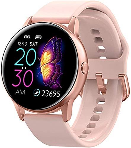 Reloj inteligente DT88 para mujer, IP68, impermeable, pantalla de 1,22 pulgadas, presión arterial, para Android, Apple Samsung Huawei Watch (color rosa silicona)