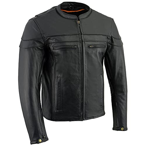 Milwaukee Leather LKM1725 Men's Black Sporty Crossover Scooter Leather Jacket - X-Large