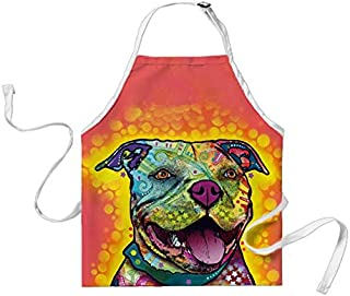 Catetime Extremely Smart Dogs Chef Apron Pitbull Pet Kitchen Cooking Apron for Men and Women 29X34 Inch Big Size Bib Aprons