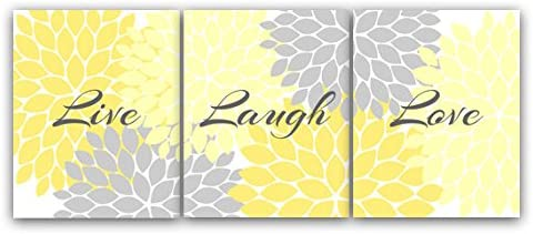 Amazon Com Home Decor Wall Art Live Laugh Love Yellow Wall Art Flower Burst Bathroom Wall Decor Yellow And Grey Bedroom Wall Art Home54 Posters Prints