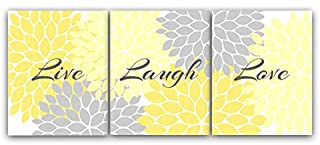 Home Decor Wall Art, Live Laugh Love, Yellow Wall Art, Flower Burst Bathroom Wall Decor,..
