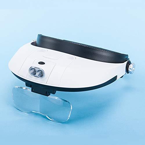 A HD Headset Gafas Lupa con luz Alta Tiempos niños Viejo Hombre Lectura reparación teléfono móvil reparación Lupa Maquillaje Belleza joyería identificación Lupa Insecto Espectador Lente portátil