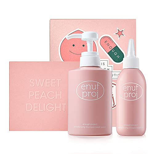 ENOUGH PROJECT Sweet Peach Gift Set, Shampoo 14.6 FL OZ and Vinegar treatment 6.8 FL OZ, PH 5.5 Balanced Shampoo for Healthier Looking Hair, with AP's Exclusive Ingredient and Technology