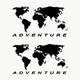 Autodomy Confezione Adesivi Planisfero Mappamondo Valigie Moto Adventure Trail off Road Sport 4x4 2 Pezzi per Auto o Moto (Nero)