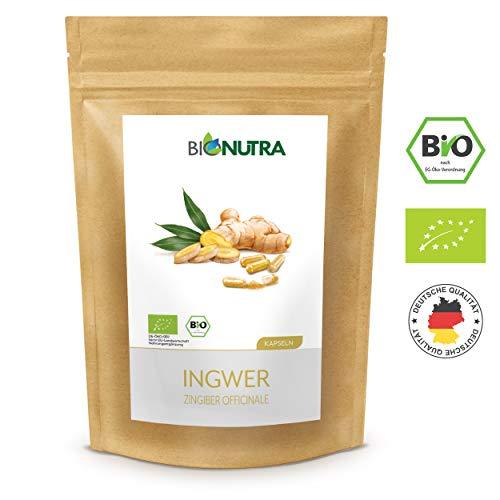 BioNutra® Ingwer-Kapseln Bio 240 x 600 mg, deutsche GMP-Herstellung, 100% reines Bio-Ingwerpulver (Zingiber officinale), ohne Zusätze